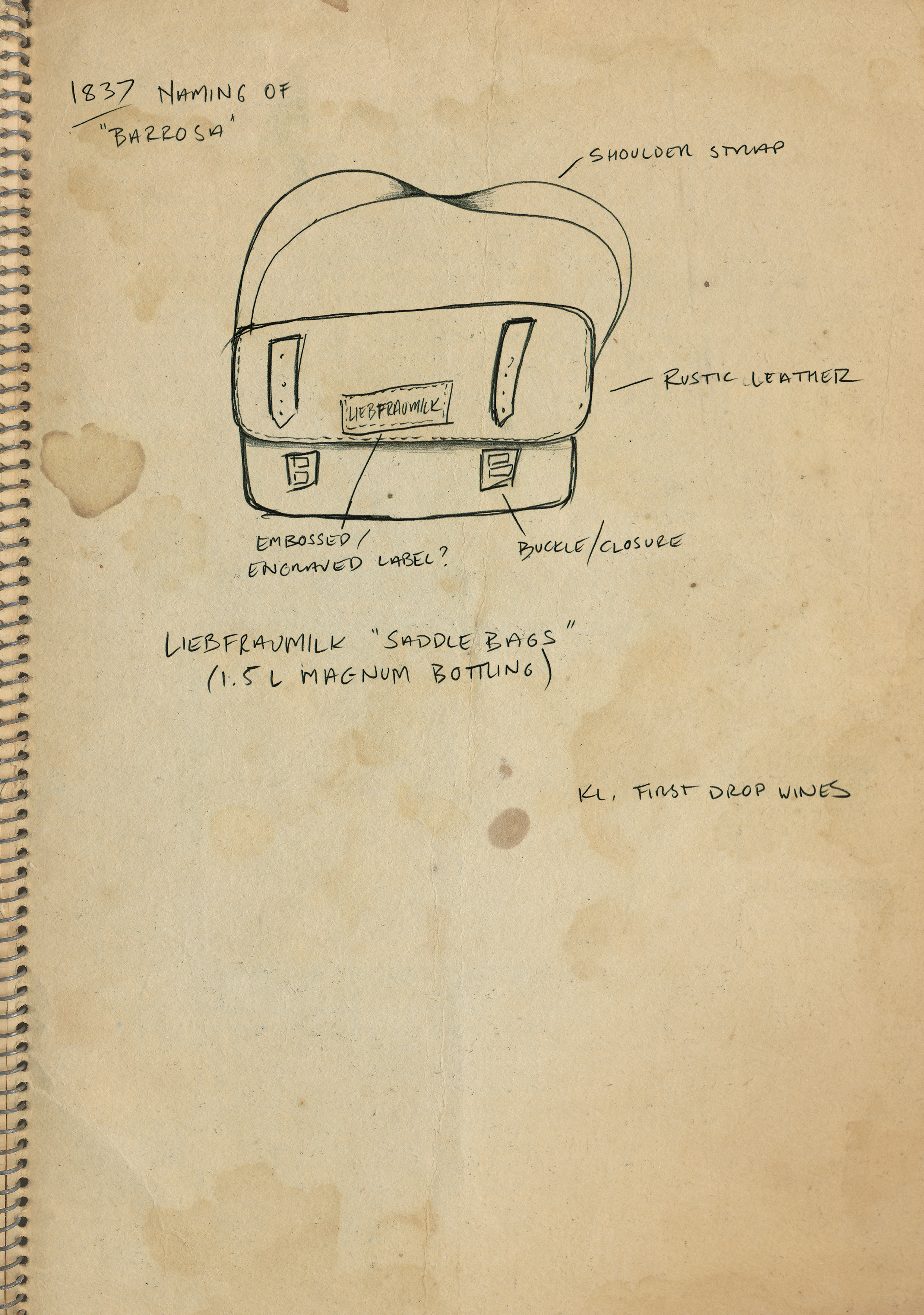 A concept sketch for the Liebfraumilk leather saddlebag